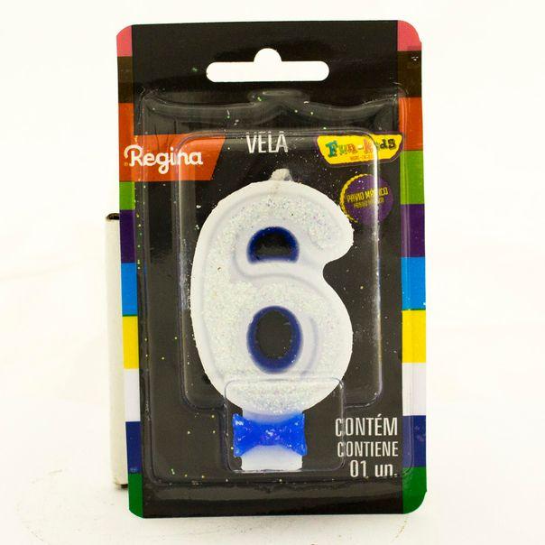 7891175018777_Vela-de-Aniversario-Super-Com-glitter-Azul-nº-6-Regina