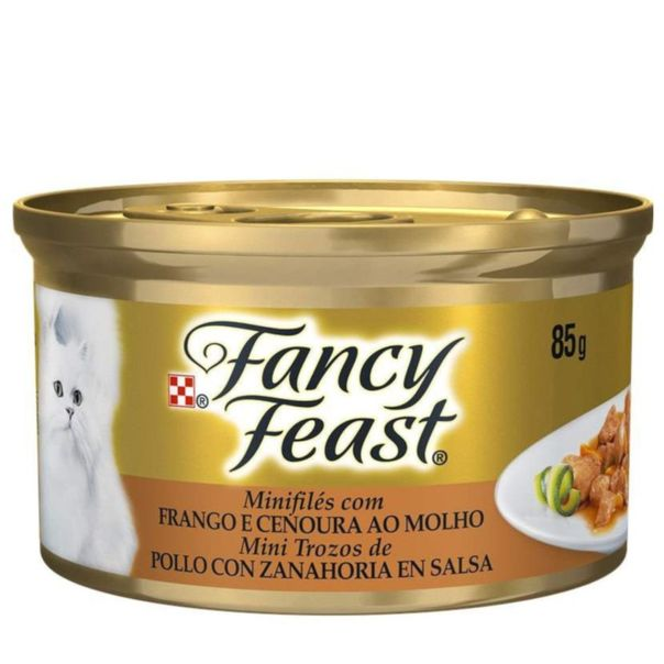Enlatado-de-mini-files-para-gato-sabor-frango-e-cenoura-ao-molho-Fancy-Feast-85g