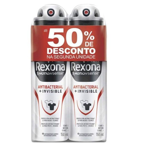 Kit-2-desodorantes-aerosol-men-antibacterial---invisible-50--de-desconto-na-2º-unidades-Rexona--150ml