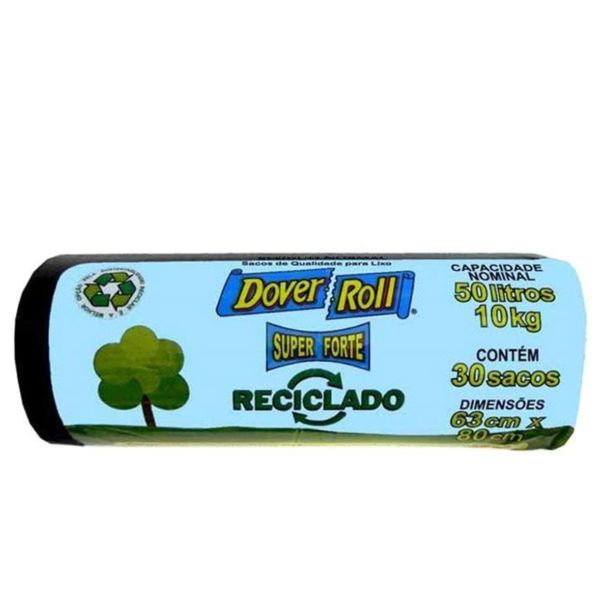Saco-para-lixo-super-reciclado-preto-Dover-Roll-50-litros-com-30-unidades