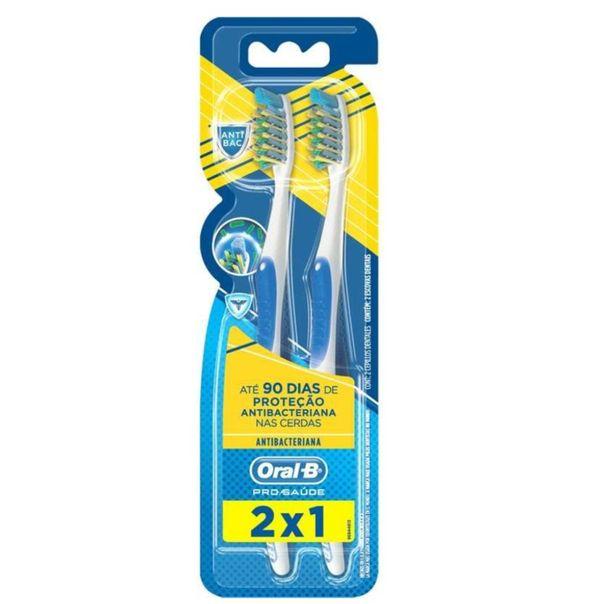Escova-dental-pro-saude-protecao-antibacteriana-macia-leve-2-pague-1-Oral-B