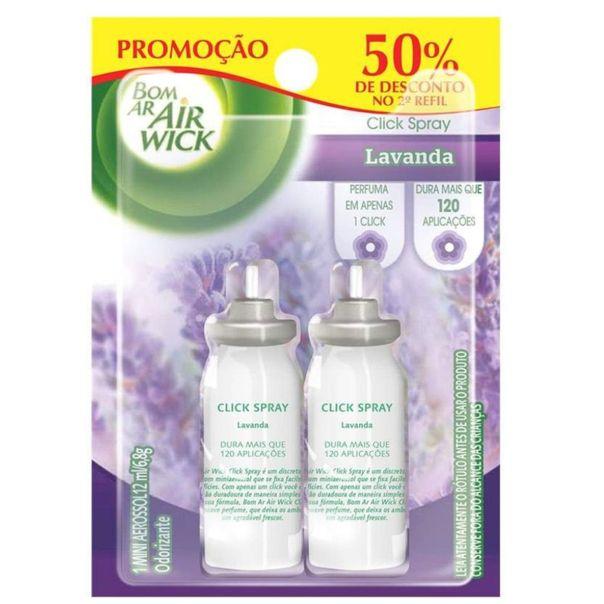Odorizador-click-spray-lavanda-2-unidades-50--de-desconto-no-2°-refil-Air-Wick-12ml