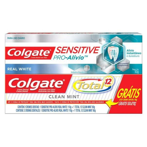 Creme-dental-pro-alivio-real-white-gratis-creme-dental-total-12-Colgate-200g