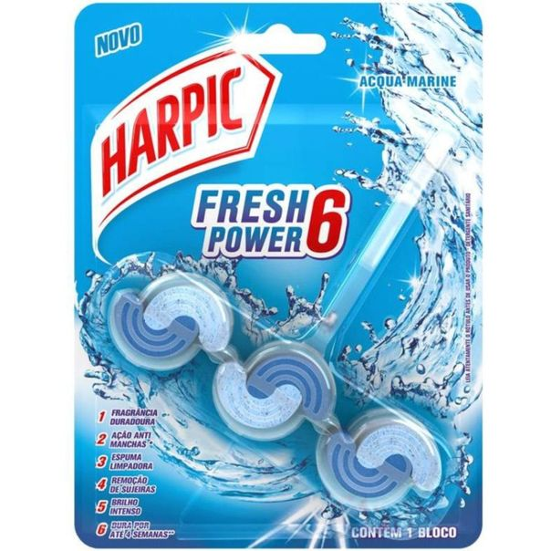 Bloco-sanitario-fresh-power-6-acqua-marine-Harpic-39g