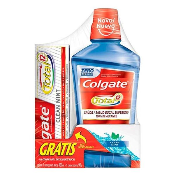 Kit-enxaguante-bucal-clean-mint---creme-dental-Colgate-500ml