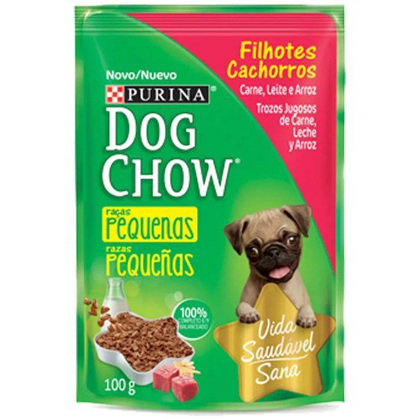 Racao-para-caes-dog-chow-filhotes-sabor-carne-leite-e-arroz-sache-Purina-100g