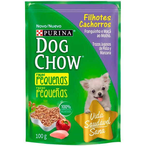 Racao-para-caes-dog-chow-filhotes-racas-pequenas-sabor-frango-e-maca-ao-molho-sache-Purina-100g-