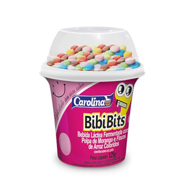 Iogurte-bibibits-sabor-morango-e-flocos-de-arroz-colorido-Carolina-125g