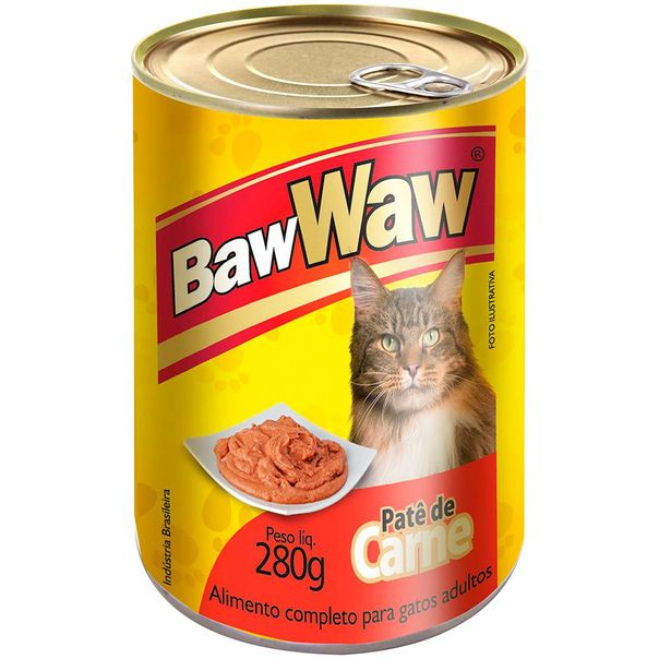 Alimento-para-gatos-pate-enlatado-sabor-carne-Baw-Waw-280g-