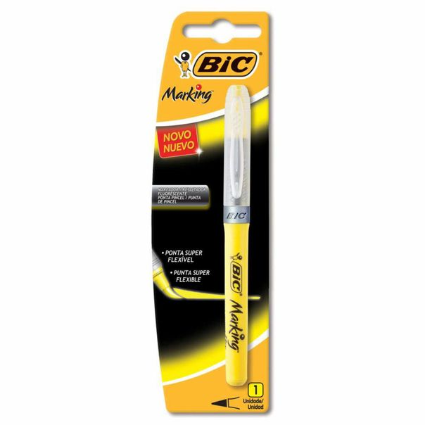 Marcador-de-texto-ponta-flexivel-amarelo-Bic