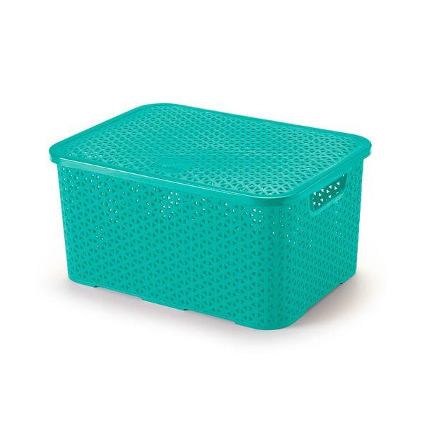 Caixa-organizadora-com-tampa-mosaico-cor-azul-tifany-Arthi-16-litros