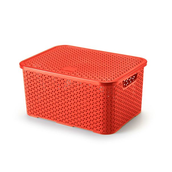 Caixa-organizadora-com-tampa-mosaico-cor-vermelha-Arthi-16-litros
