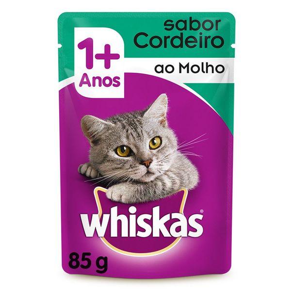 Racao-umida-para-gatos-adultos-sabor-cordeiro-ao-molho-sache-Whiskas-85g