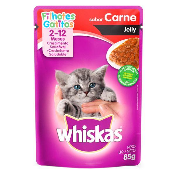 Racao-umida-para-gatos-filhotes-sabor-carne-jelly-sache-Whiskas-85g