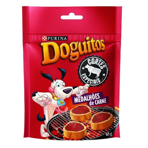 Petisco-para-cachorro-snacks-medalhoes-sabor-carne-doguitos-Purina-65g