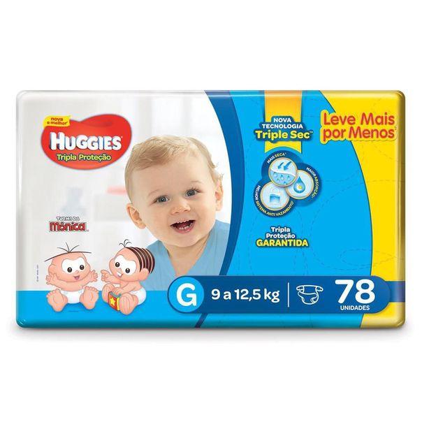 Fralda-turma-da-monica-tripla-protecao-tamanho-G-com-78-unidades-Huggies