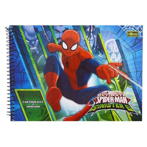 Caderno-espiral-de-cartografia-Homem-Aranha-com-96-folhas-Tilibra