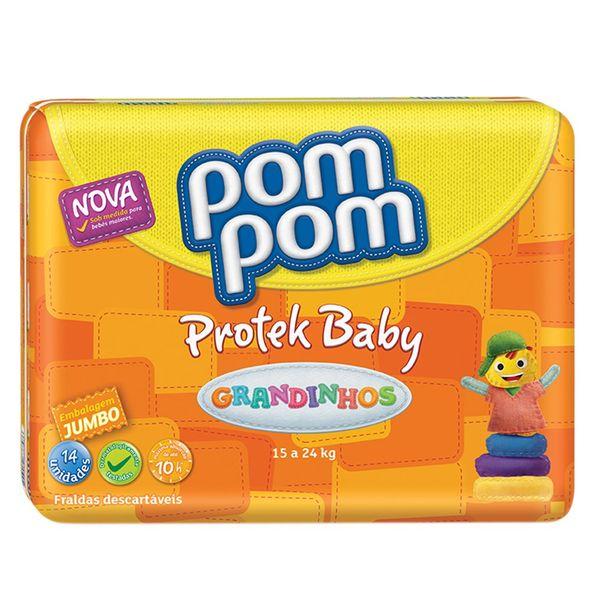 Fralda-Pompom-Protek-Baby-Grandinhos-com-14-Unidades