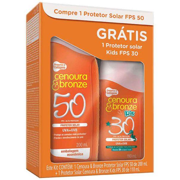 Kit-Cenoura-e-Bronze-FPS50-200ml-e-Protetor-Solar-Cenoura-e-Bronze-Kids-FPS30-110ml