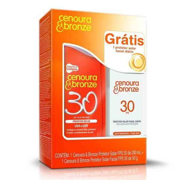 Protetor-Solar-Cenoura-e-Bronze-FPS30-200ml-Gratis-Protetor-Facial-310ml
