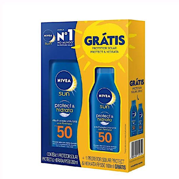 Kit-protetor-solar-protect--hidrata-fps50-200ml--protetor-solar-sensitive-kids-fps60-Nivea-100ml