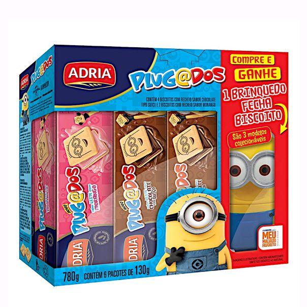 Kit-4-Biscoitos-Chocolate-Suico--2-Biscoitos-Morango-Meu-Malvado-Favorito-Adria-Plugados-780g-Gratis-1-Brinquedo-Fecha-Biscoito
