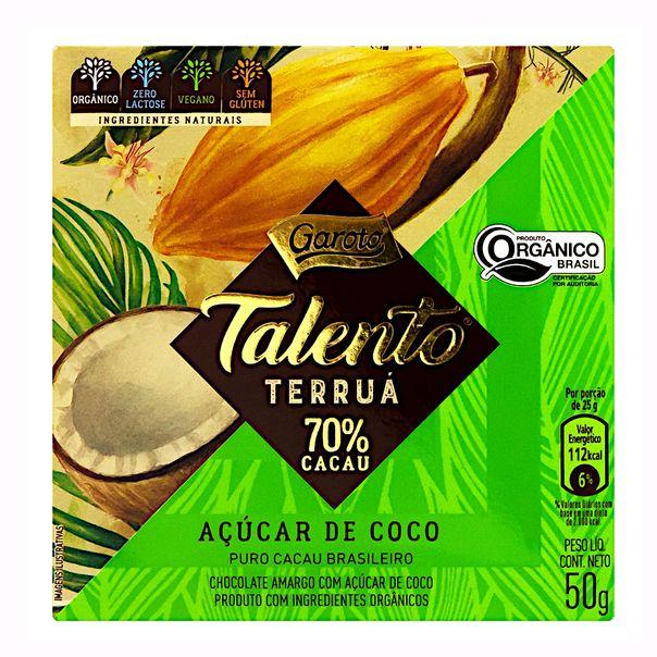Chocolate-Amargo-70-Cacau-Organico-Acucar-de-Coco-Zero-Lactose-Garoto-Talento-Terrua-Caixa-50g