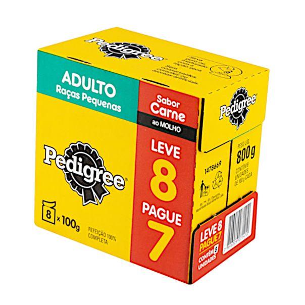 Pack-Alimento-para-Caes-Adultos-Racas-Pequenas-Carne-ao-Molho-Pedigree-800g-Leve-8-Pague-7-Unidades