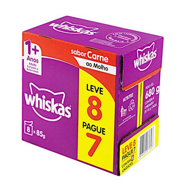 Pack-Alimento-para-Gatos-Adultos-1-Carne-ao-Molho-Whiskas-680g-Leve-8-Pague-7-Unidades